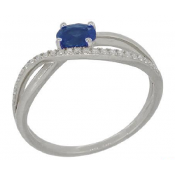 18 carat white gold ring diamonds and sapphire
