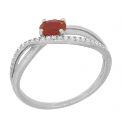 18 carat white gold ring diamonds  and ruby