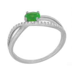 18 carat white gold ring diamonds and emerald